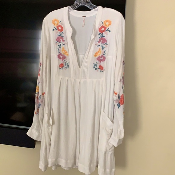 FREE PEOPLE Mia Embroidered Minidress White Embroidered  Size Small